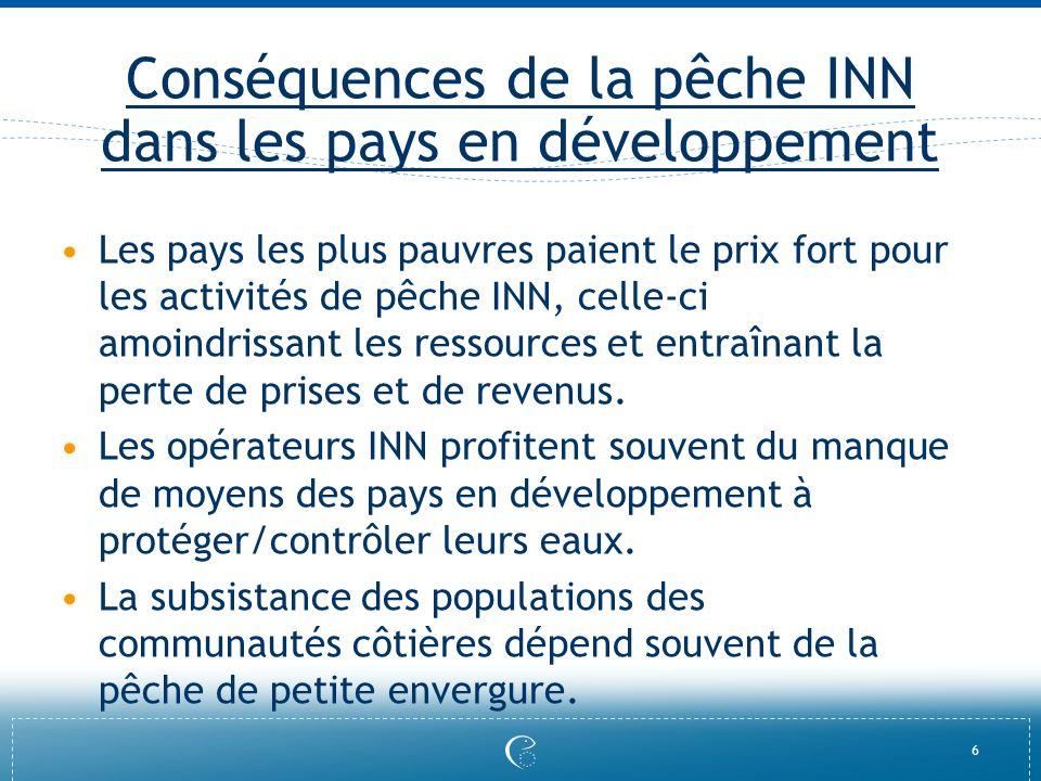 Conséquences de la pêche INN dans les pays en développement