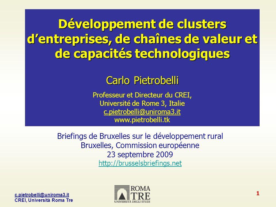 Développement de clusters d'entreprises, de chaînes de valeur et de capacités technologiques