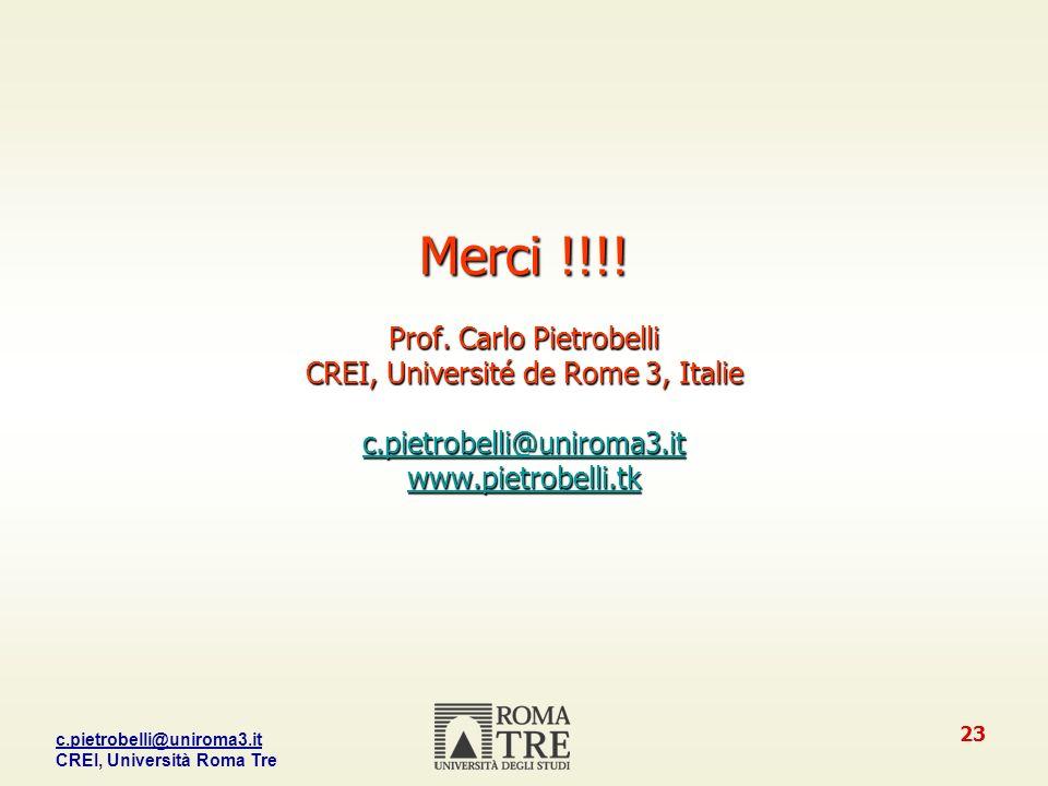 Merci. Prof. Carlo Pietrobelli CREI, Université de Rome 3, Italie c