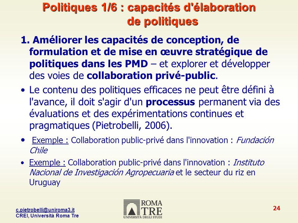 Politiques 1/6 : capacités d élaboration de politiques