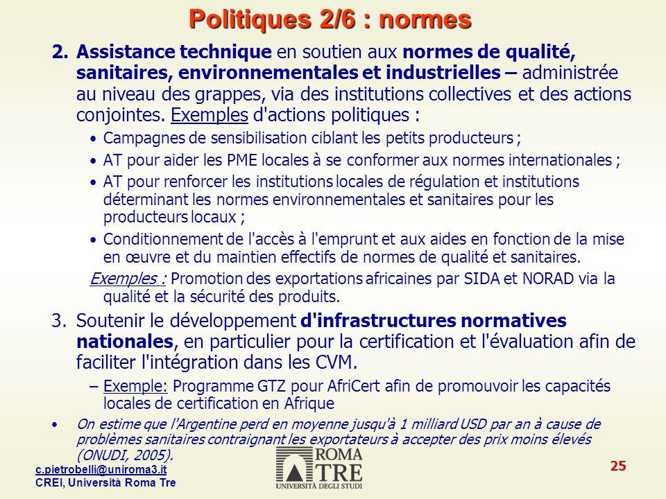 Politiques 2/6 : normes