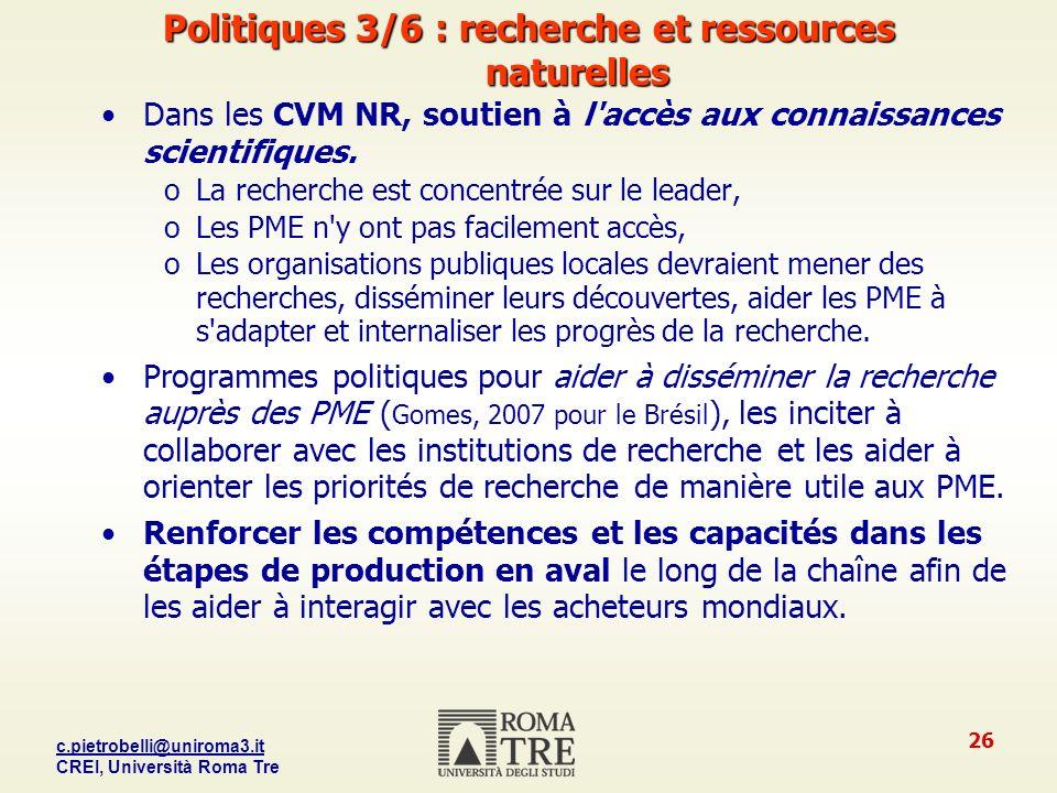 Politiques 3/6 : recherche et ressources naturelles
