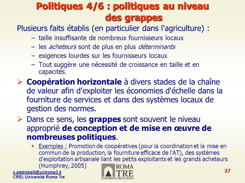Politiques 4/6 : politiques au niveau des grappes