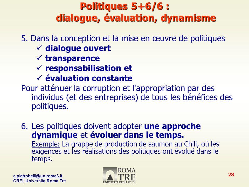 Politiques 5+6/6 : dialogue, évaluation, dynamisme