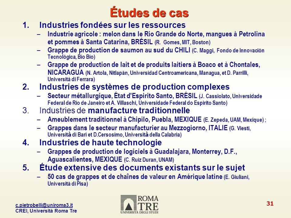 Études de cas Industries fondées sur les ressources