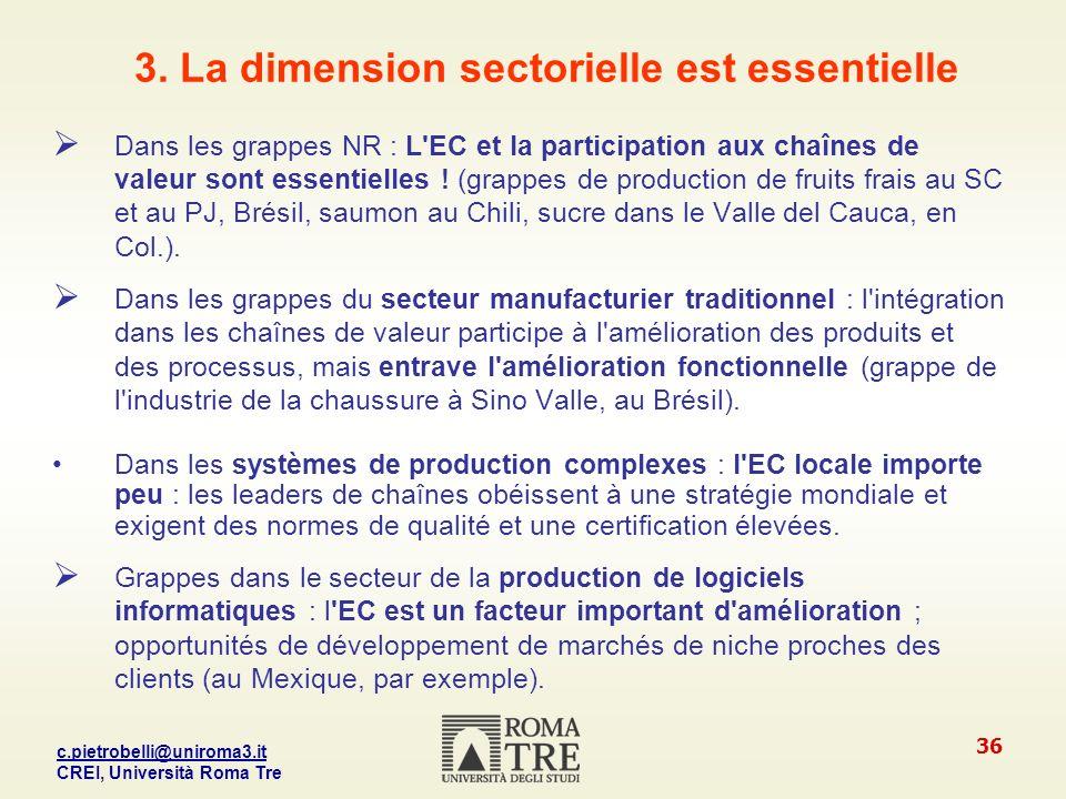 3. La dimension sectorielle est essentielle