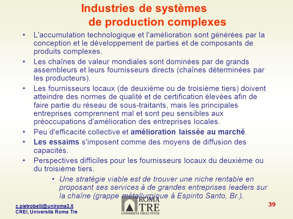 Industries de systèmes de production complexes