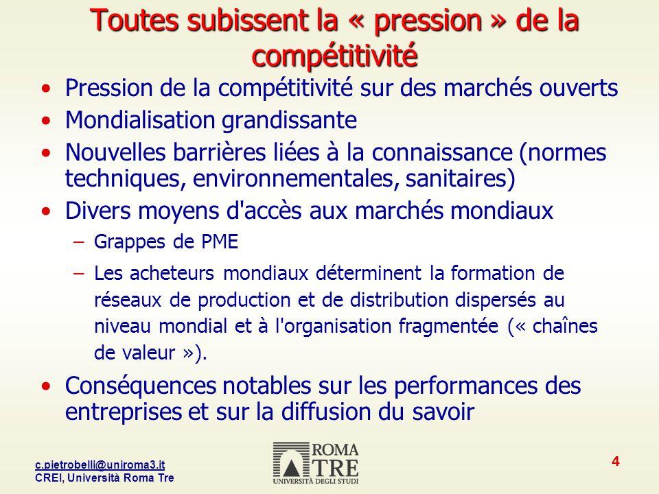 Toutes subissent la « pression » de la compétitivité