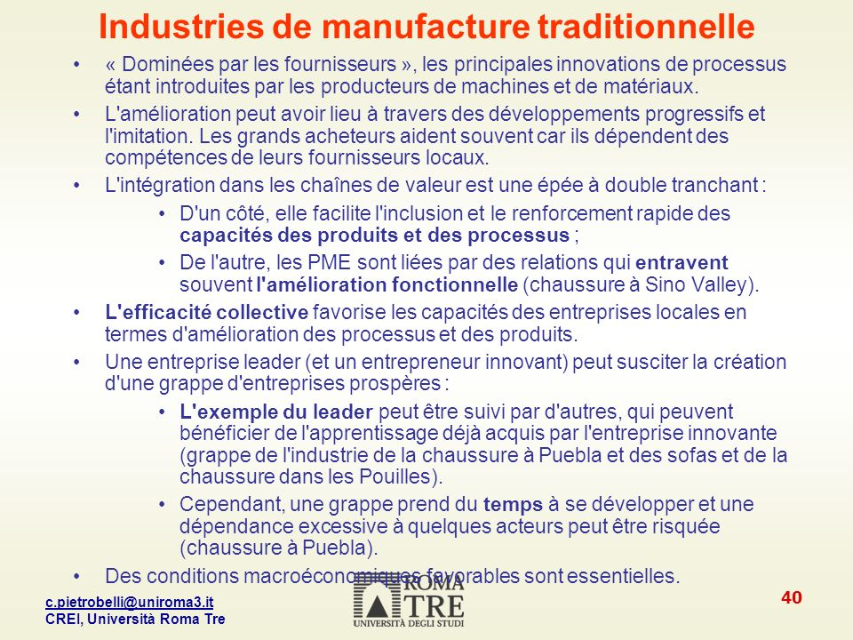 Industries de manufacture traditionnelle