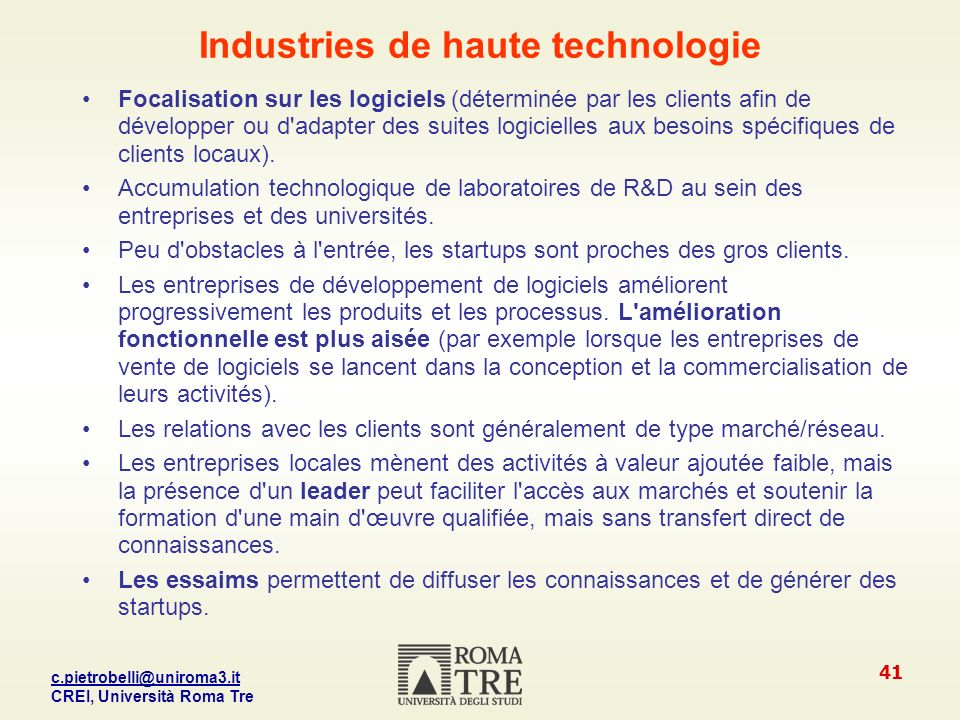 Industries de haute technologie