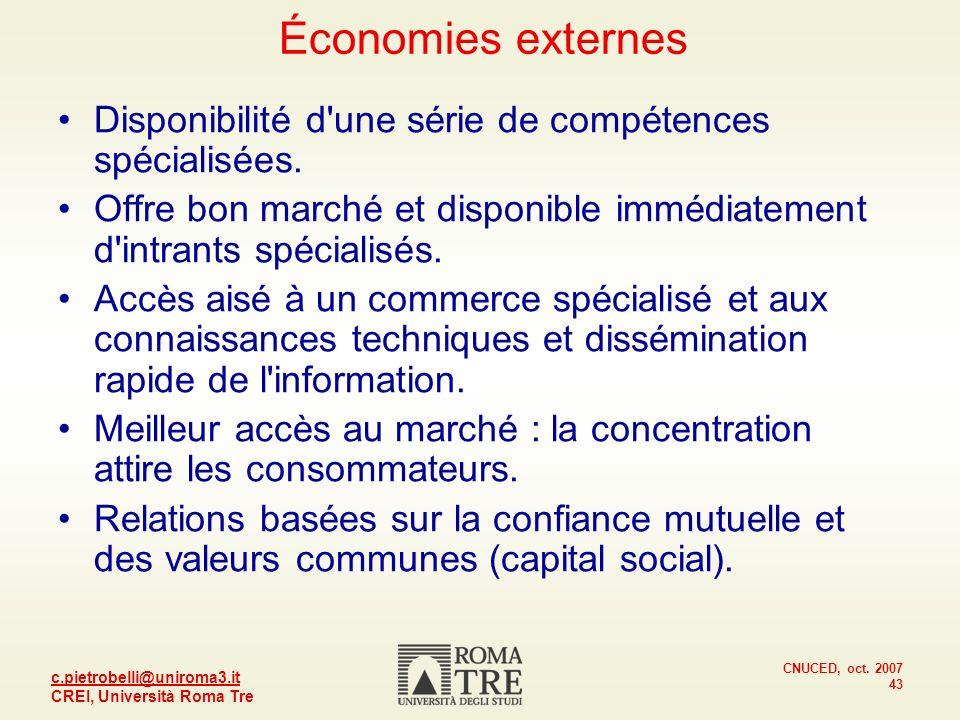 Économies externes Disponibilité d une série de compétences spécialisées. Offre bon marché et disponible immédiatement d intrants spécialisés.