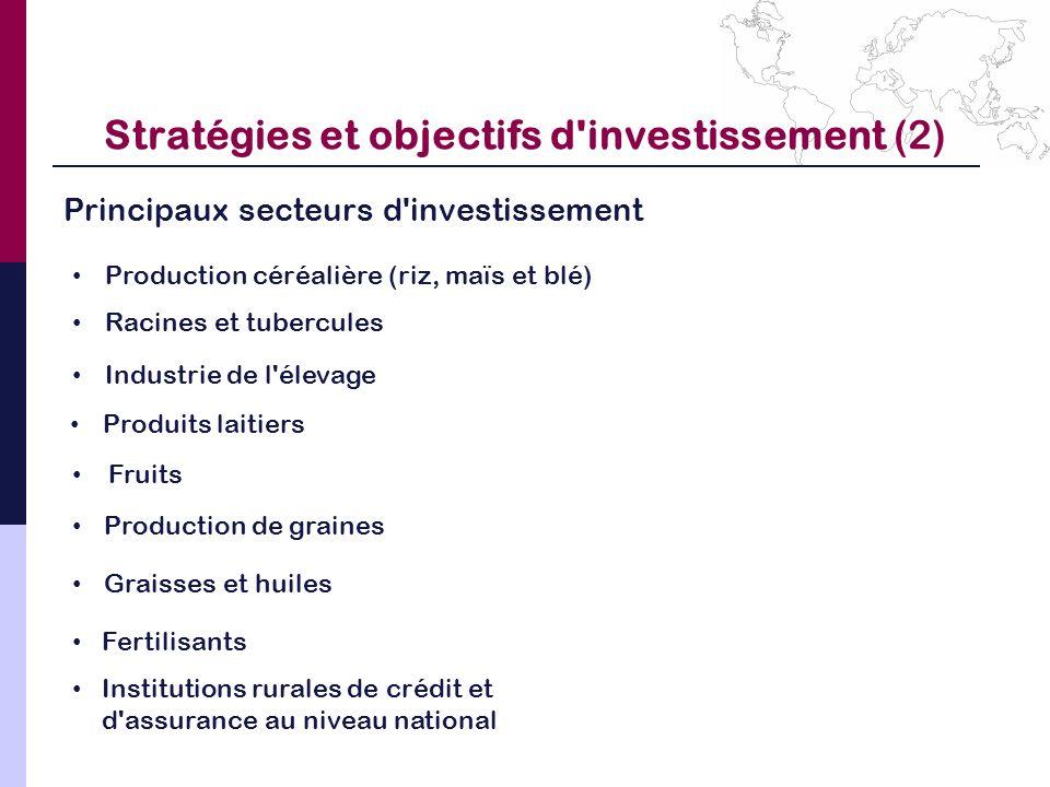 Stratégies et objectifs d investissement (2)