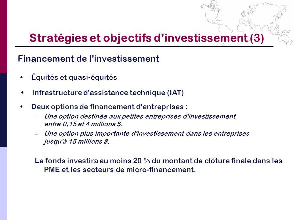 Stratégies et objectifs d investissement (3)