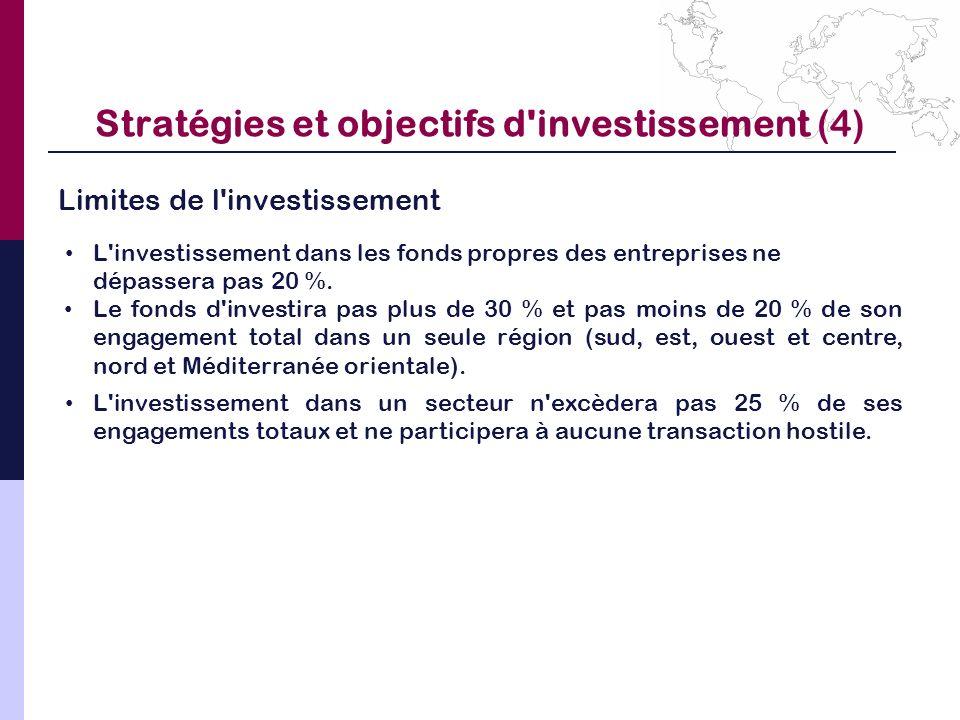 Stratégies et objectifs d investissement (4)