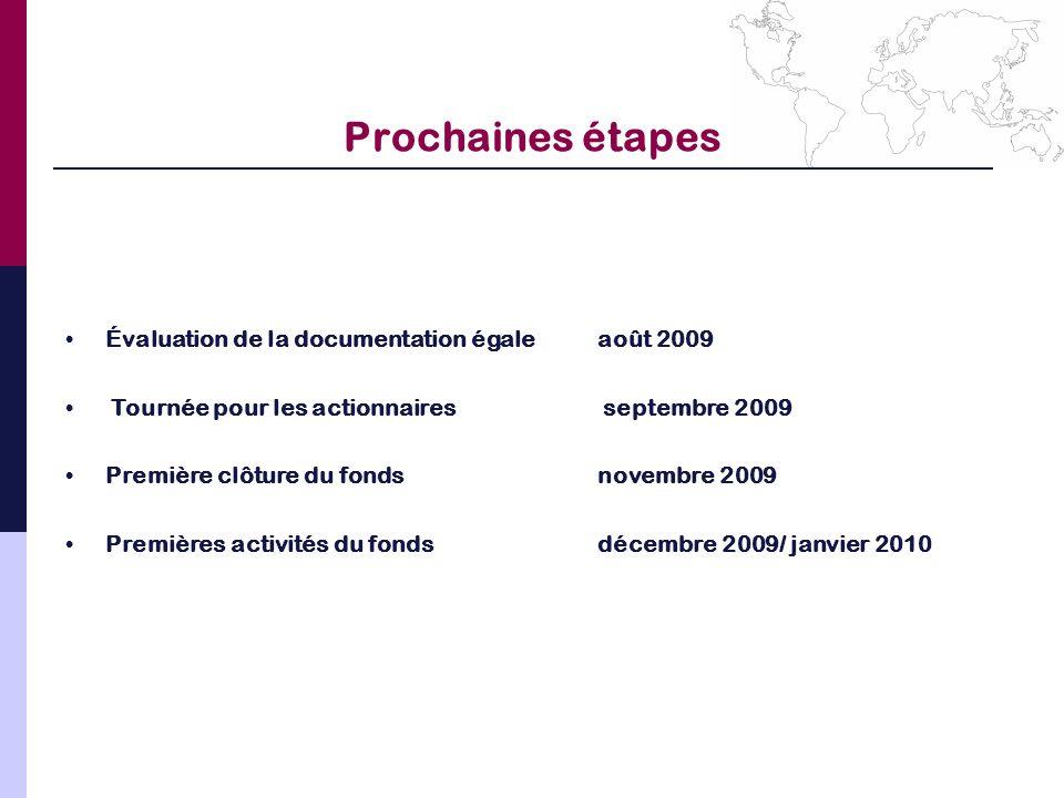 Prochaines étapes Évaluation de la documentation égale août 2009
