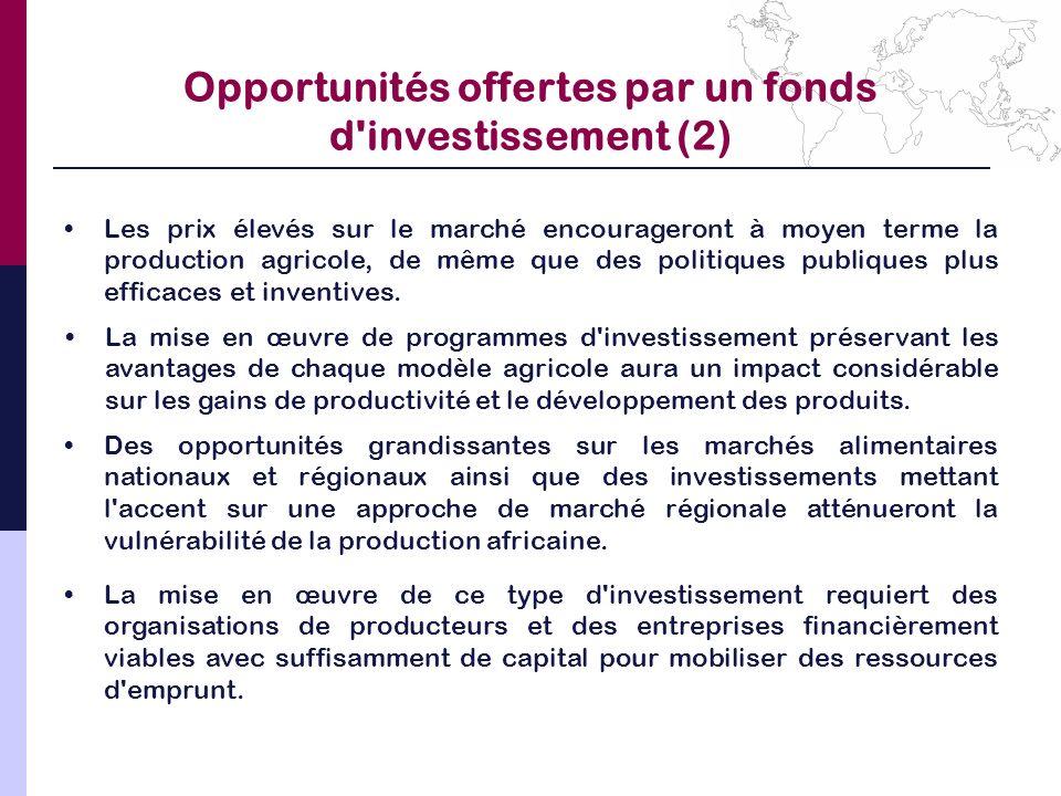 Opportunités offertes par un fonds d investissement (2)
