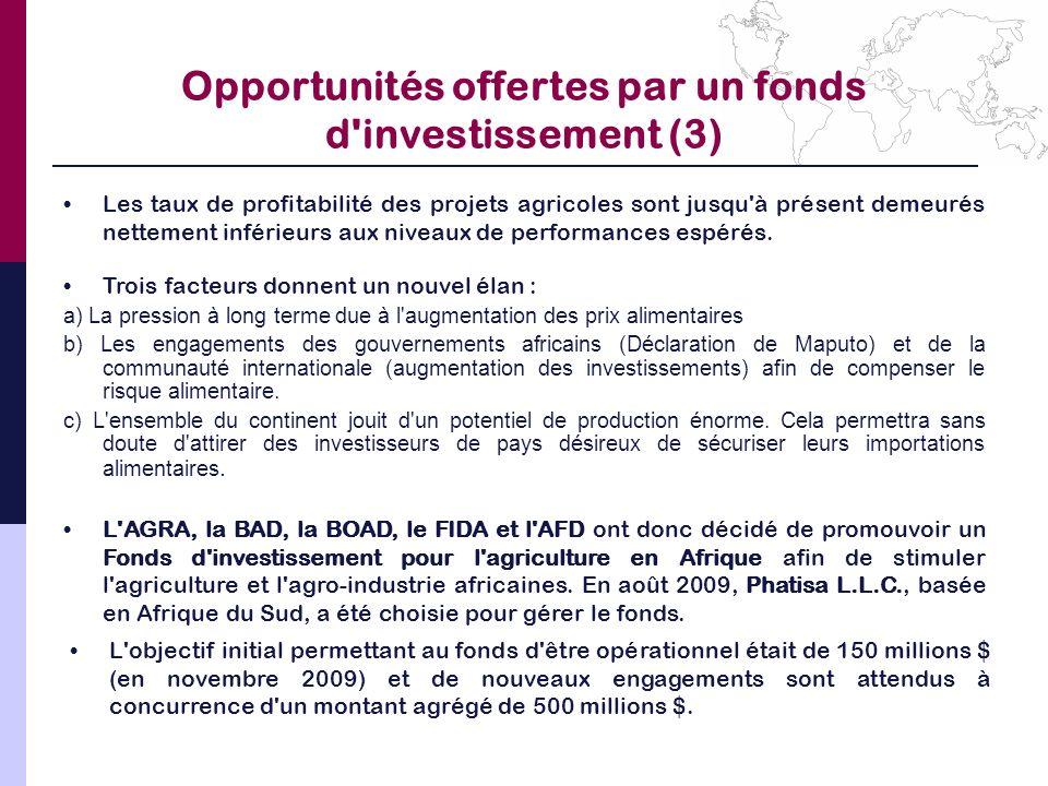 Opportunités offertes par un fonds d investissement (3)
