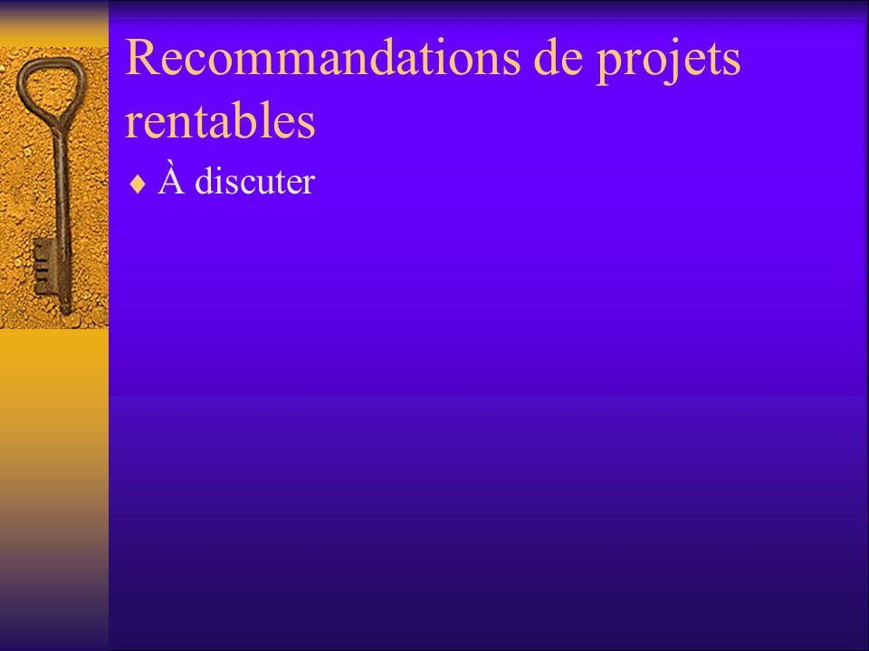 Recommandations de projets rentables