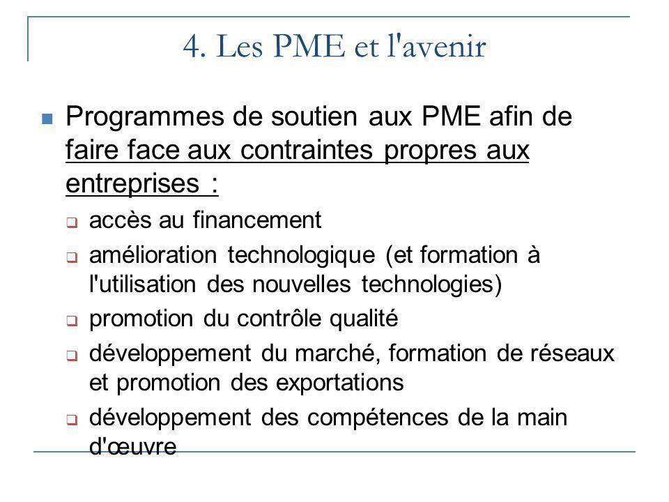 4. Les PME et l avenir Programmes de soutien aux PME afin de faire face aux contraintes propres aux entreprises :