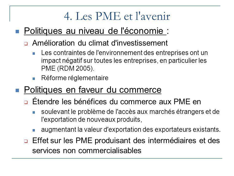 4. Les PME et l avenir Politiques au niveau de l économie :