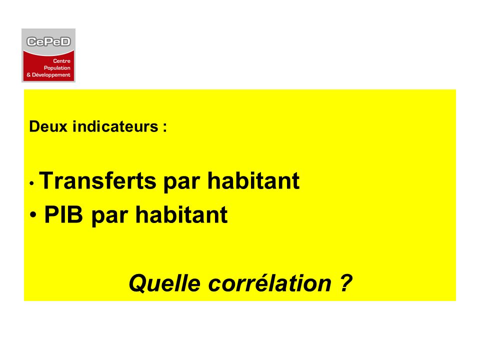 PIB par habitant Quelle corrélation Deux indicateurs :
