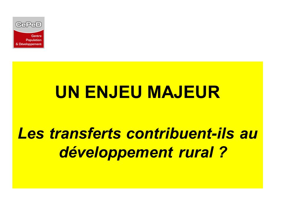 Les transferts contribuent-ils au développement rural