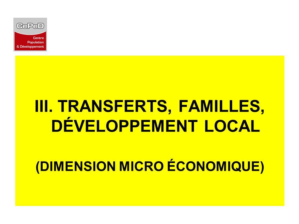 III. TRANSFERTS, FAMILLES, DÉVELOPPEMENT LOCAL