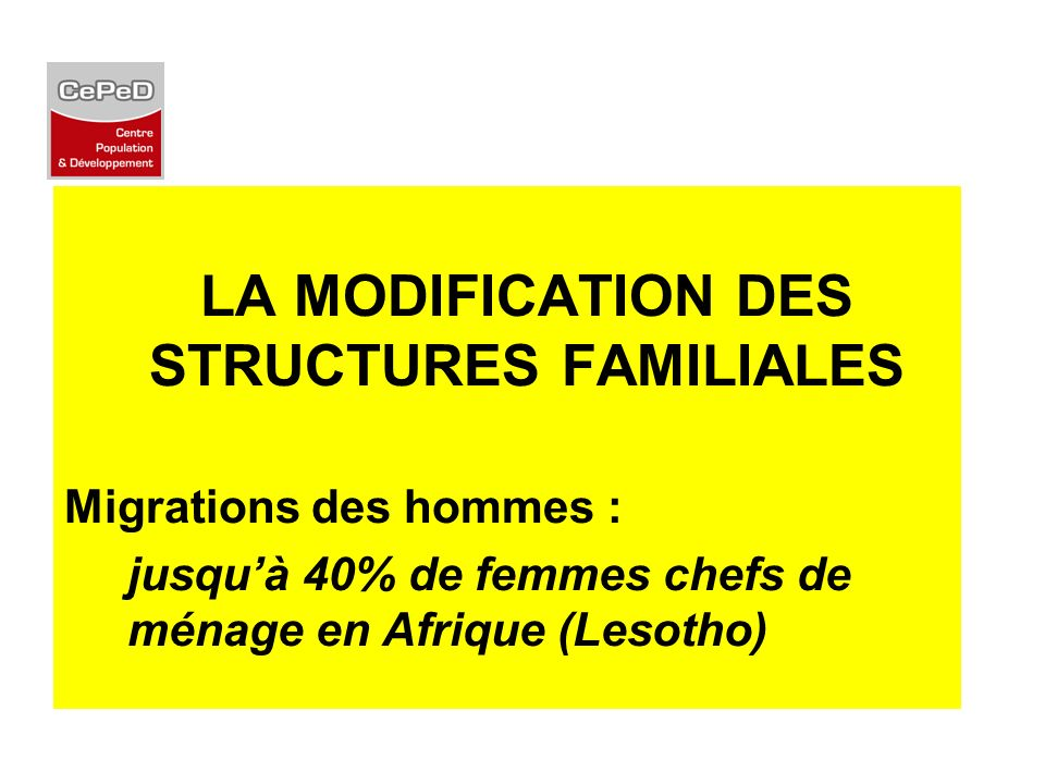 LA MODIFICATION DES STRUCTURES FAMILIALES