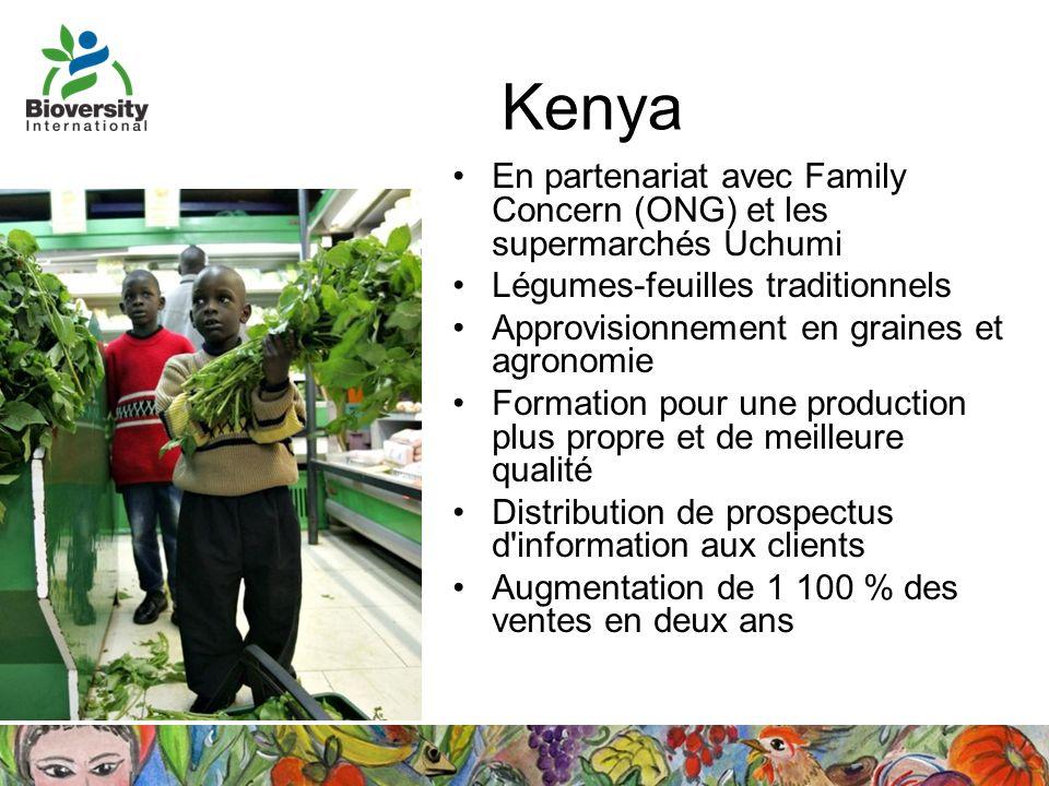 Kenya En partenariat avec Family Concern (ONG) et les supermarchés Uchumi. Légumes-feuilles traditionnels.