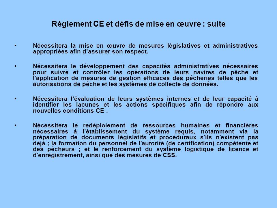 Règlement CE et défis de mise en œuvre : suite