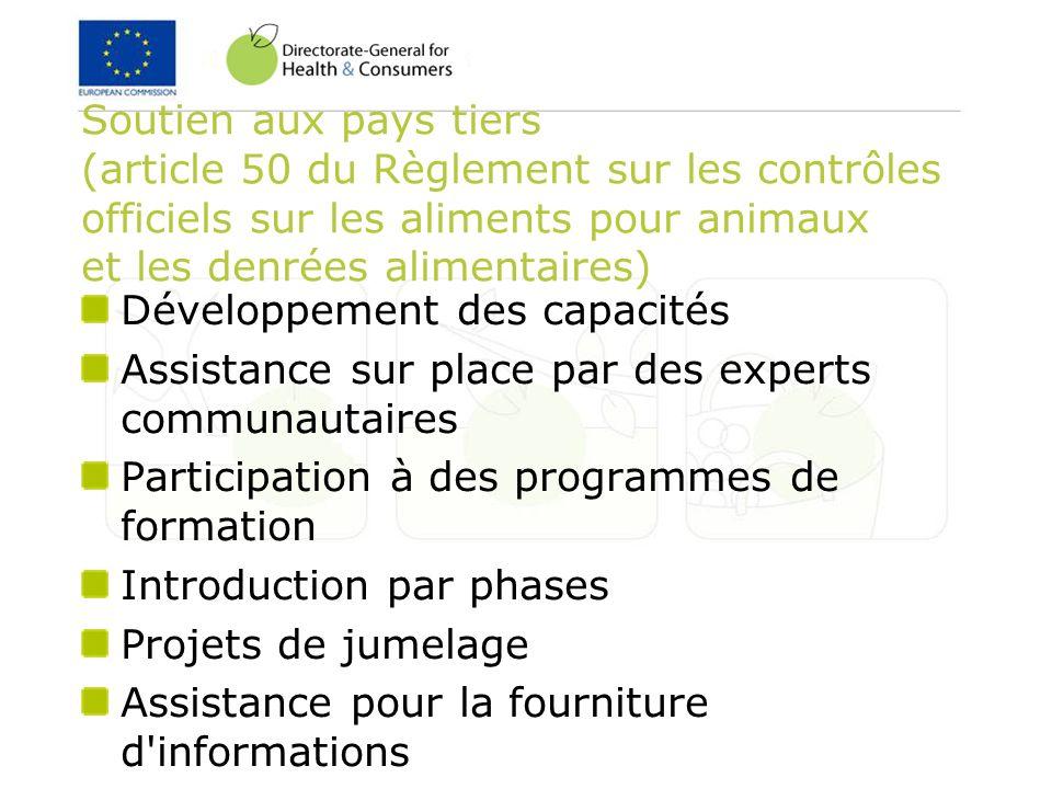 Soutien aux pays tiers (article 50 du Règlement sur les contrôles officiels sur les aliments pour animaux et les denrées alimentaires)