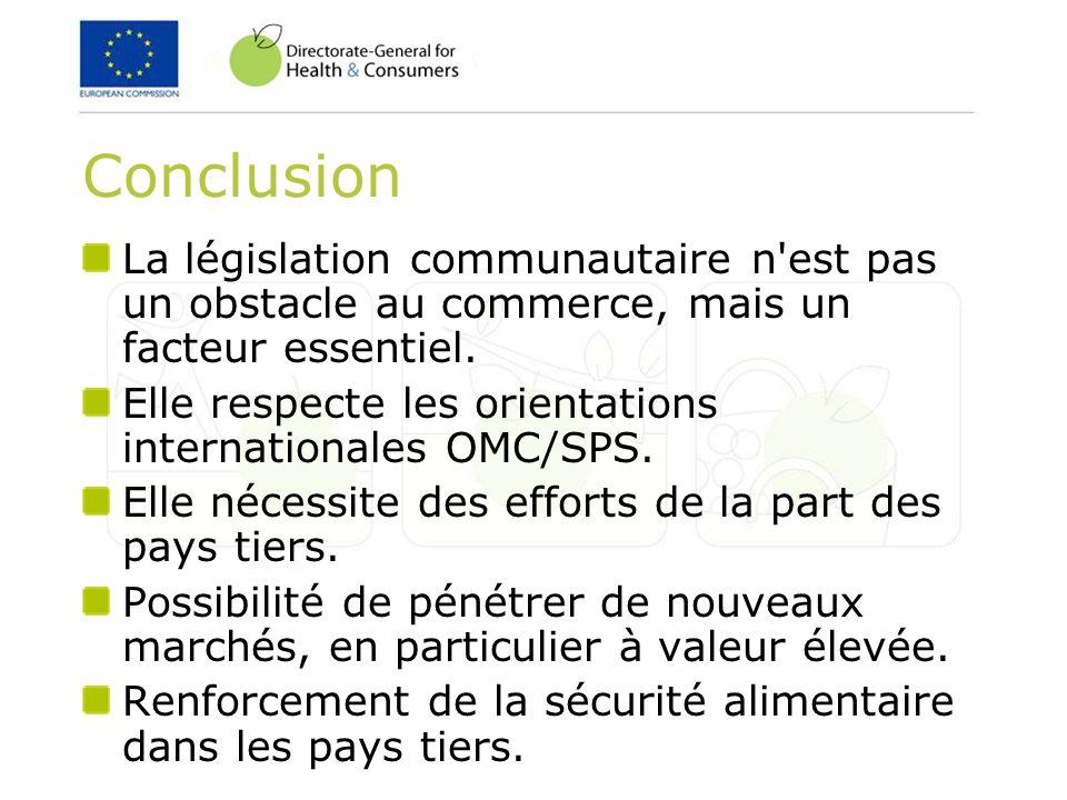 ConclusionLa législation communautaire n est pas un obstacle au commerce, mais un facteur essentiel.