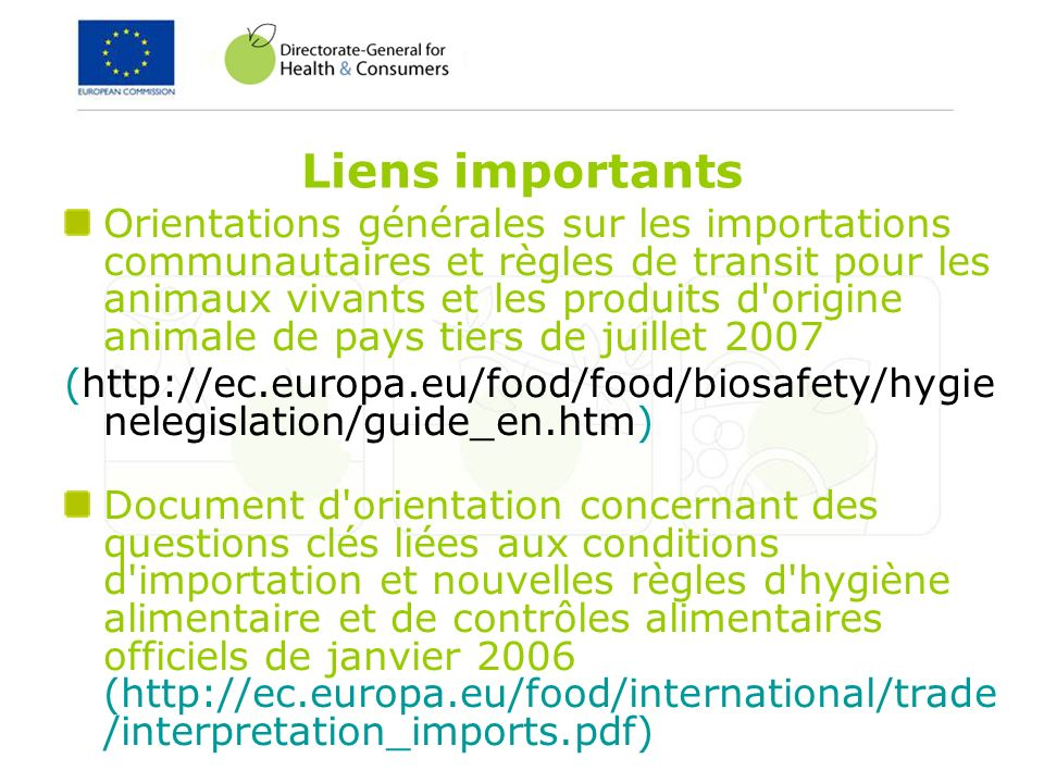 Liens importants
