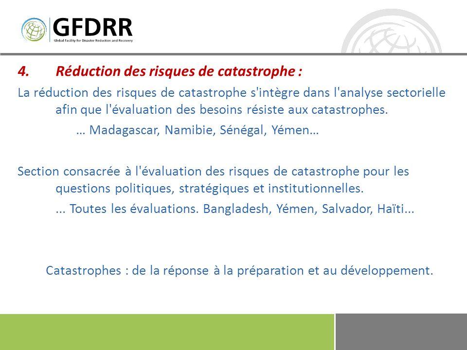 Catastrophes : de la réponse à la préparation et au développement.