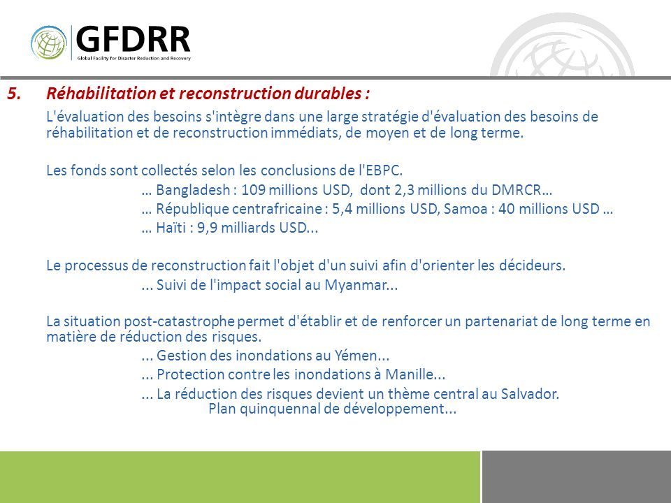 Réhabilitation et reconstruction durables :