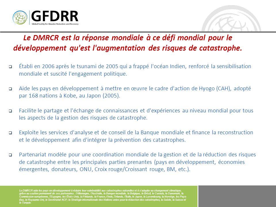 Le DMRCR est la réponse mondiale à ce défi mondial pour le développement qu est l augmentation des risques de catastrophe.