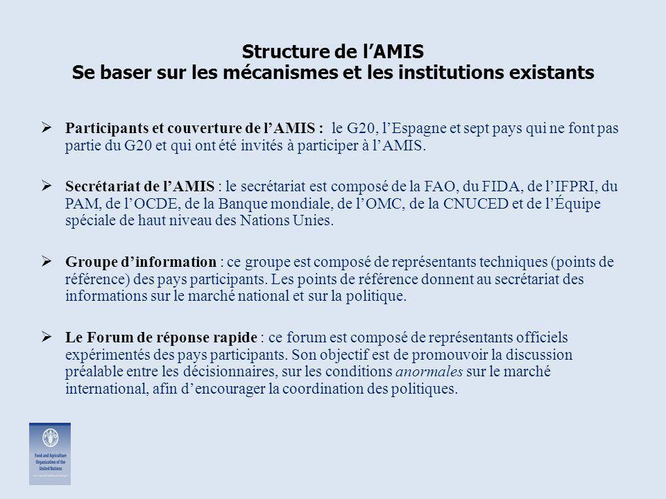 Structure de l'AMIS Se baser sur les mécanismes et les institutions existants