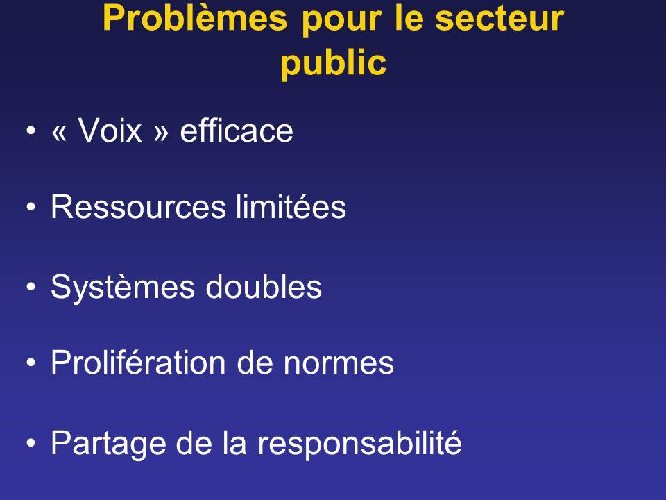 Problèmes pour le secteur public