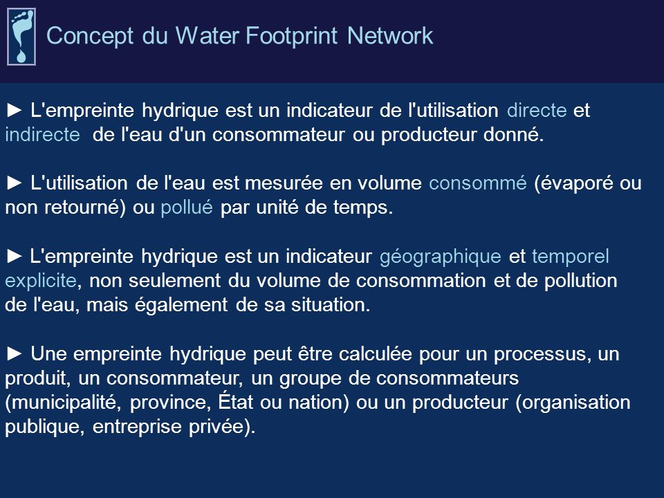 Concept du Water Footprint Network