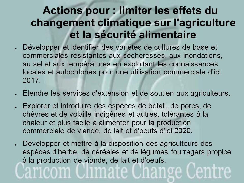 Actions pour : limiter les effets du changement climatique sur l agriculture et la sécurité alimentaire