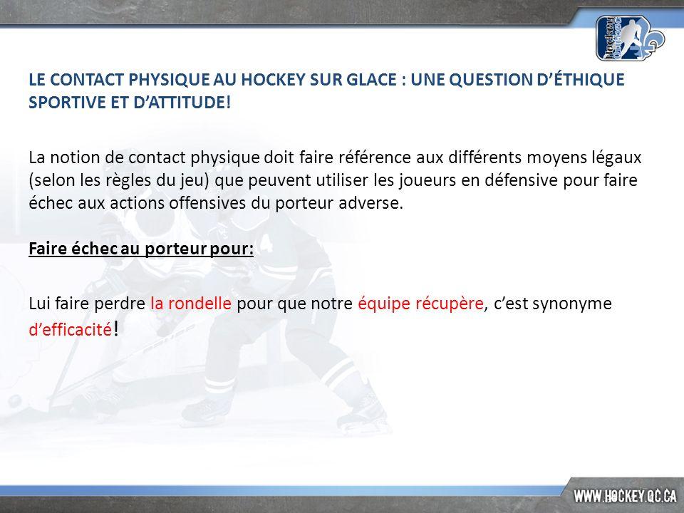 LE CONTACT PHYSIQUE AU HOCKEY SUR GLACE : UNE QUESTION D'ÉTHIQUE SPORTIVE ET D'ATTITUDE!