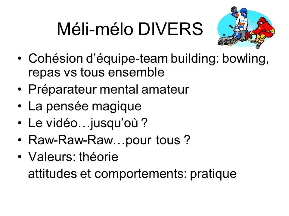 Méli-mélo DIVERS Cohésion d'équipe-team building: bowling, repas vs tous ensemble. Préparateur mental amateur.
