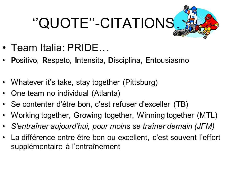 ''QUOTE''-CITATIONS Team Italia: PRIDE…