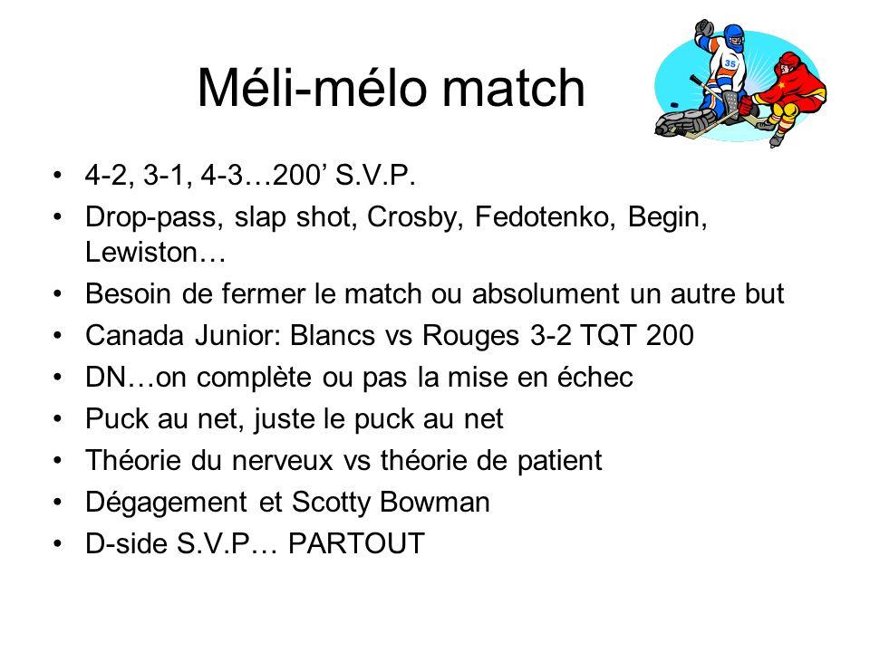 Méli-mélo match 4-2, 3-1, 4-3…200' S.V.P.