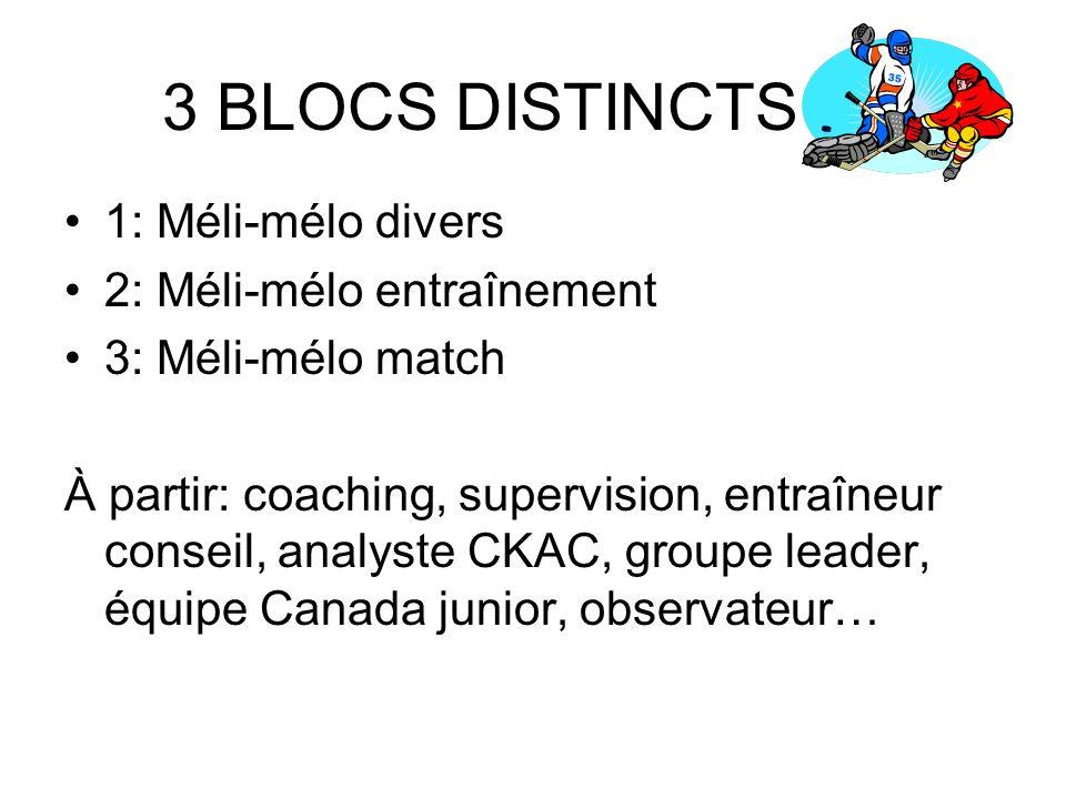 3 BLOCS DISTINCTS 1: Méli-mélo divers 2: Méli-mélo entraînement