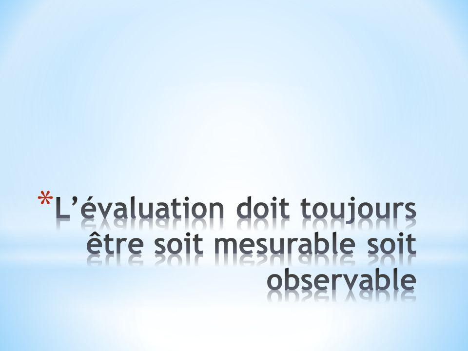 L'évaluation doit toujours être soit mesurable soit observable