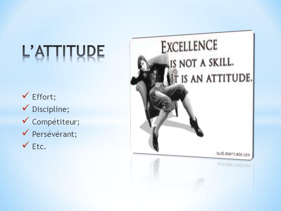 L'ATTITUDE Effort; Discipline; Compétiteur; Persévérant; Etc.