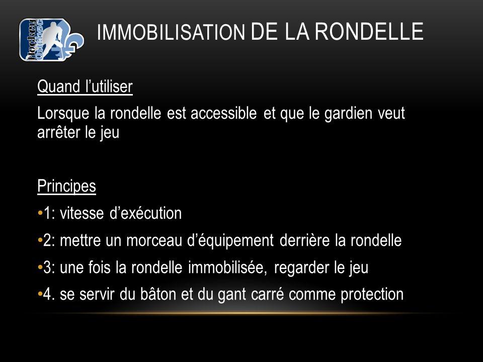 IMMOBILISATION DE LA RONDELLE