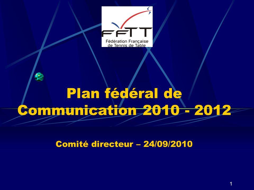 Plan fédéral de Communication 2010 - 2012 Comité directeur – 24/09/2010