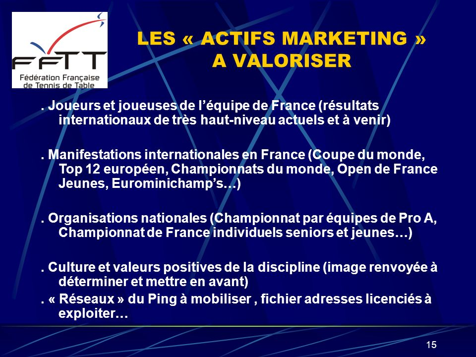LES « ACTIFS MARKETING » A VALORISER